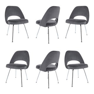 Saarinen Executive Armless Chairs in Gunmetal Grey Velvet - S/6