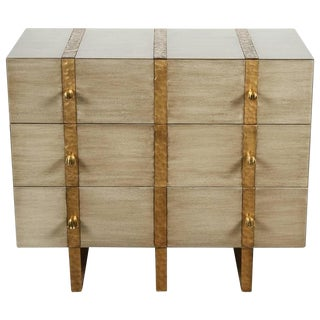 Paul Marra Three-Drawer Banded Chest in Bleached Walnut and Inset Iron Band