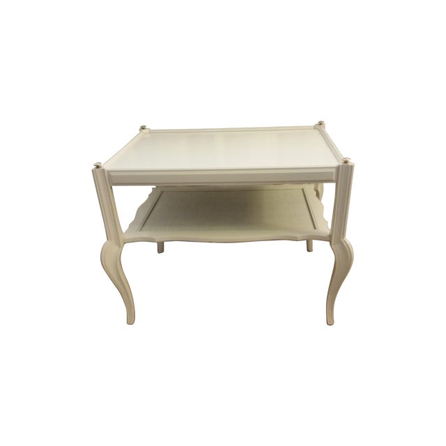 White Solid Wood & Cane Two-Tier End Table