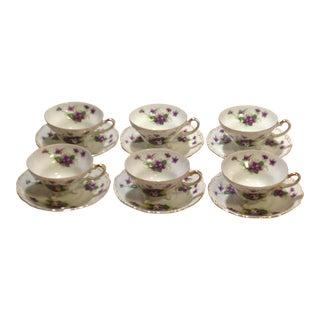 "Norcrest Three Footed ""Sweet Violet"" Tea Cups & Saucers - Set of 6"