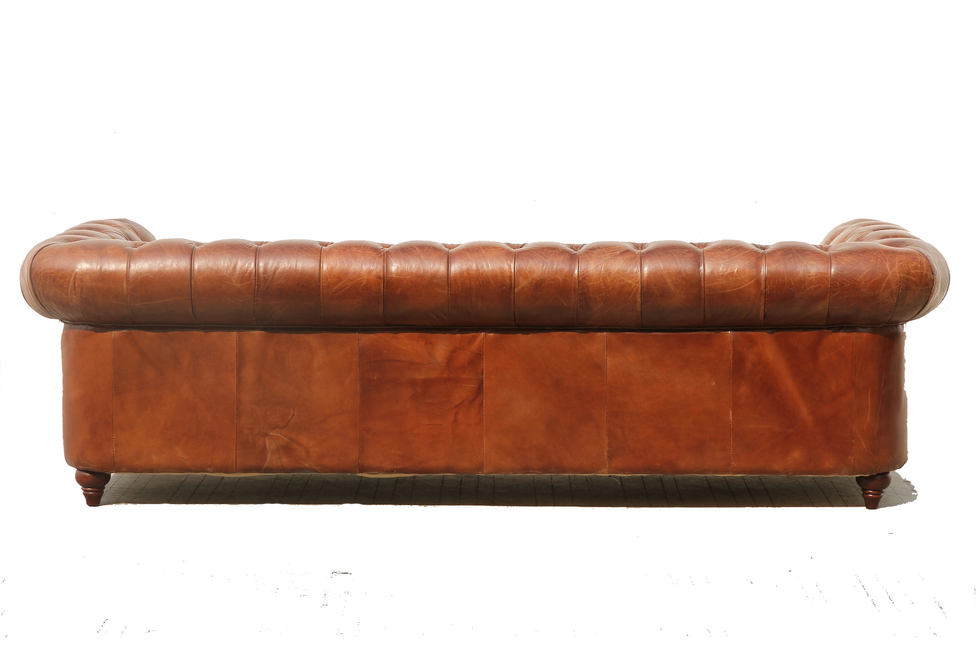 Pasargad Genuine Leather Chester Bay Tufted Sofa Chairish
