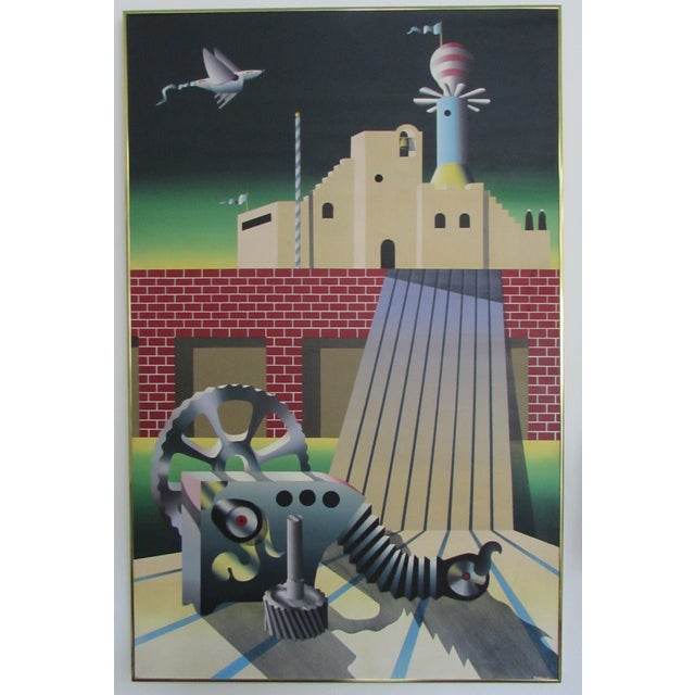 Industrial Age Surrealist Painting - Image 2 of 6