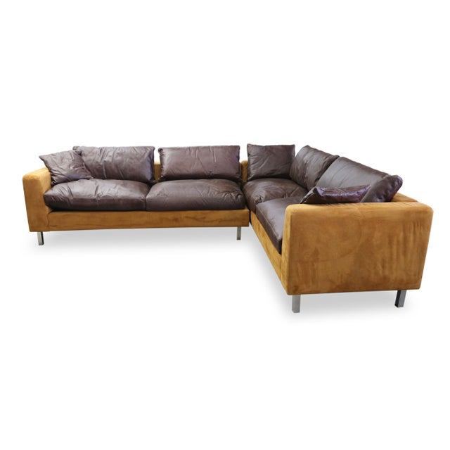 Suede Leather Brown Gold Brazilian Modern Sectional