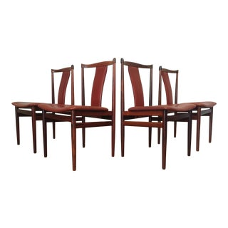 Henning Sorensen Rosewood & Leather Dining Chairs - Set of 4