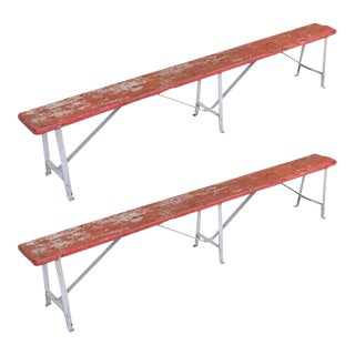 Pair of French Red and White Painted Industrial Benches
