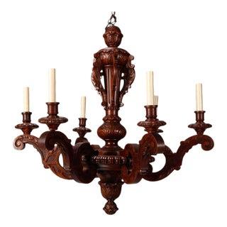 Belgian Six-Light Baroque Style Carved Oak Chandelier