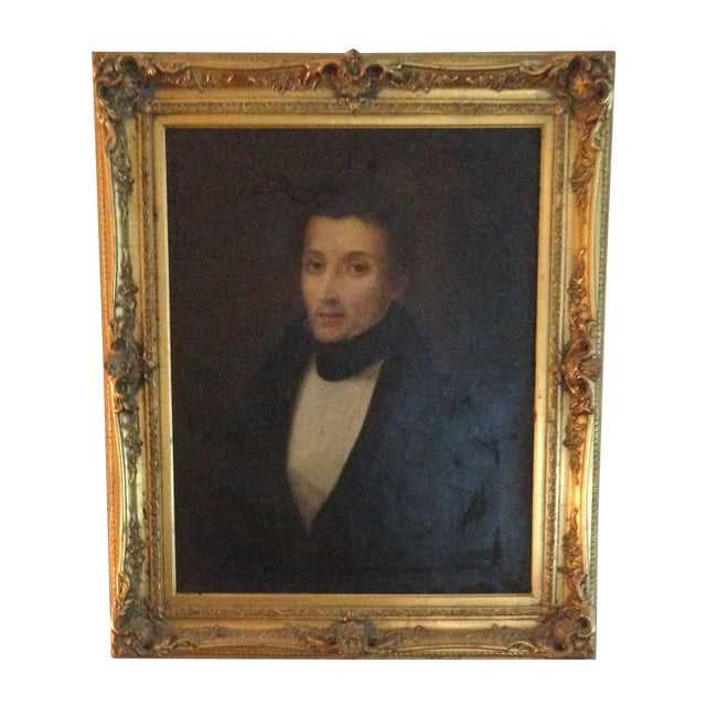 1800s Oil Portrait Painting With Gold Frame - Image 1 of 8