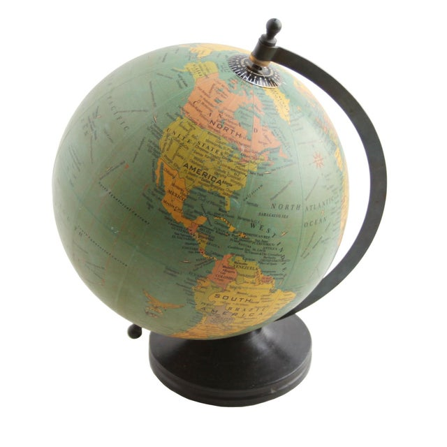 Small Globe on Wooden Base - Image 1 of 2