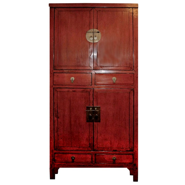 Image of McGuire Asian Antiquity Red Black Lacquer Cabinet