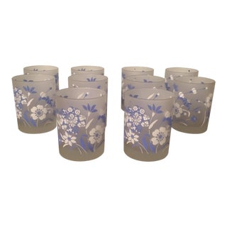 Vintage Blue and White Floral Tumblers - Set of 10