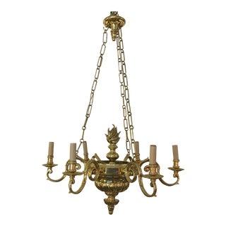 Six-Light Vintage Style Brass Chandelier