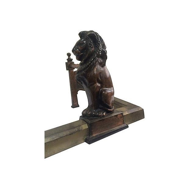 Image of Antique Iron Lion Fireplace Fender