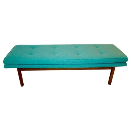 Mid-Century Tufted Turquoise Bench - Image 1 of 8
