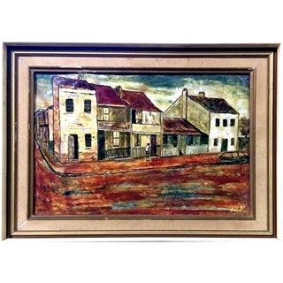 Cubist Ceramic Street Scene Painting