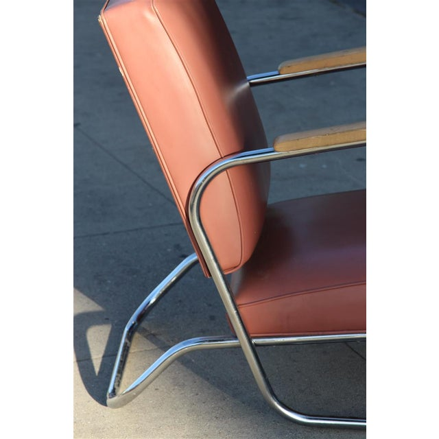 Postmodern Deco Style Chrome Lounge Chair in Mauve - Image 9 of 9