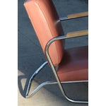 Image of Postmodern Deco Style Chrome Lounge Chair in Mauve