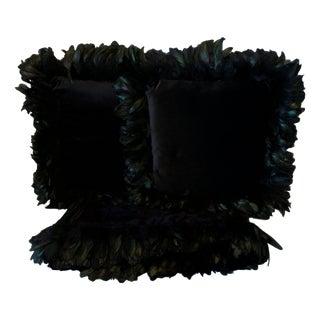 Black Velvet Pillows & Throw with Feather Trim - A Pair