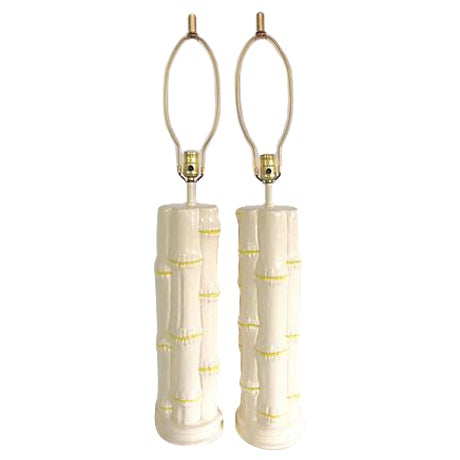 1960s Ceramic Faux Bamboo Lamps - Pair - Image 1 of 6