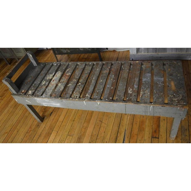19th C. Wood Bench with Painted-Splatered Slats - Image 3 of 4