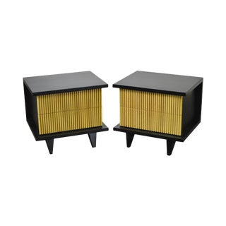 American of Martinsville Black & Pickled Finish Nightstands - A Pair