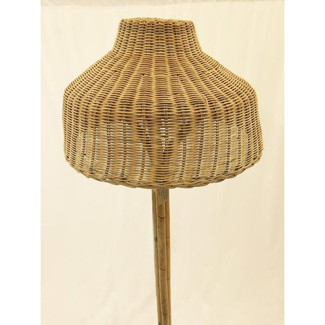 Vintage Woven Wicker Amp Rattan Floor Lamp Chairish
