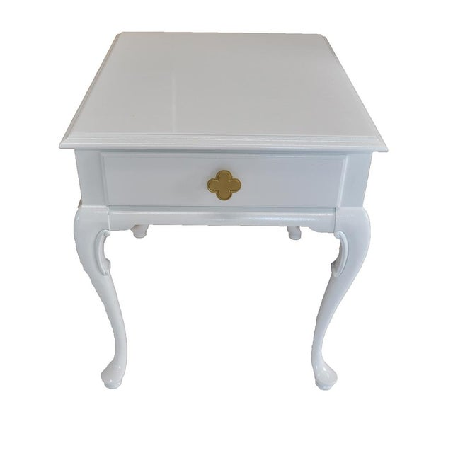 White Chippendale Side Tables -- A Pair - Image 2 of 6