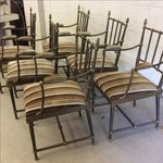Image of Brass Dining Chairs With Rams Head Accents - Set of 6