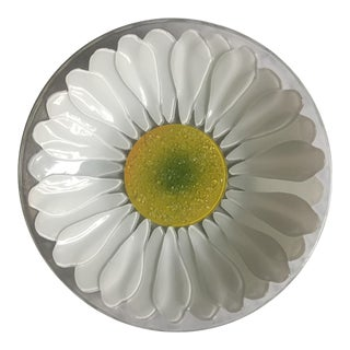 Mid Century Textured Glass Daisy Bowl