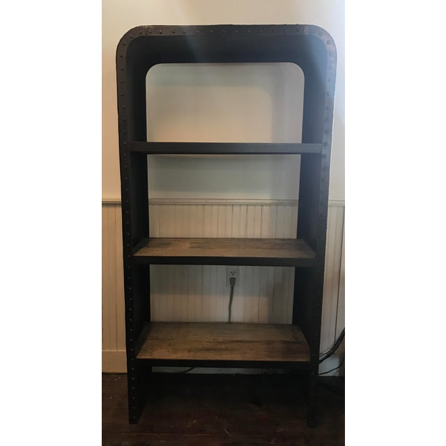 Industrial Steel & Teak Bookcase - Image 2 of 4