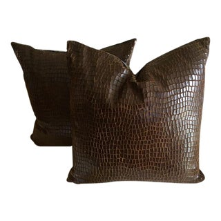 Dark Brown Leather, Alligator Style Pillow - Pair