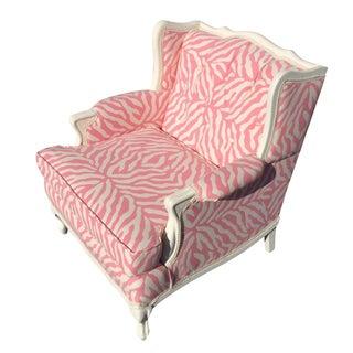 Vintage Wing Armchair in Pink Zebra Print