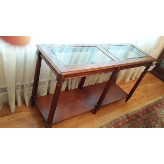 Vintage Solid Fruitwood and Beveled Glass Console Table - Image 6 of 11