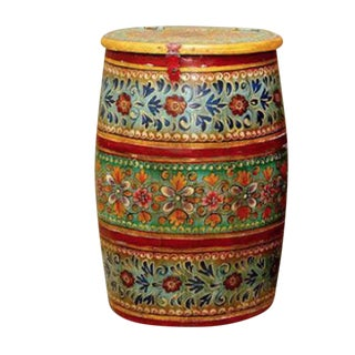 Indian Rajasthan Painted Barrel