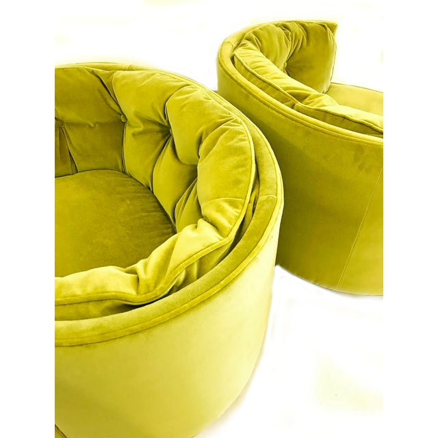 Vintage Chartreuse Velvet Club Chairs - a Pair - Image 4 of 5