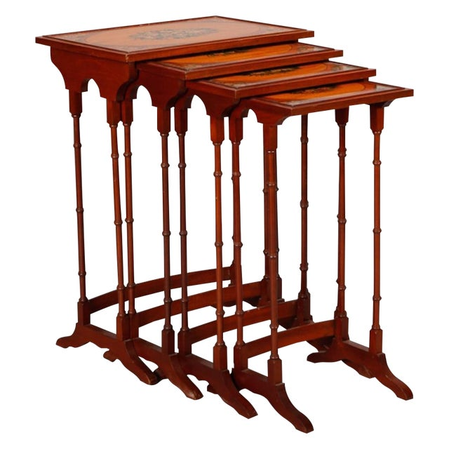 English Adam Style Painted Nesting Tables - S/4 - Image 1 of 10
