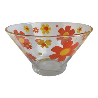 Groovy Flower Power Mid-Century Glass Bowl