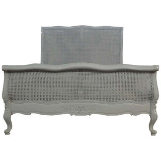French Farmhouse Style Grey Cane Queen Bed