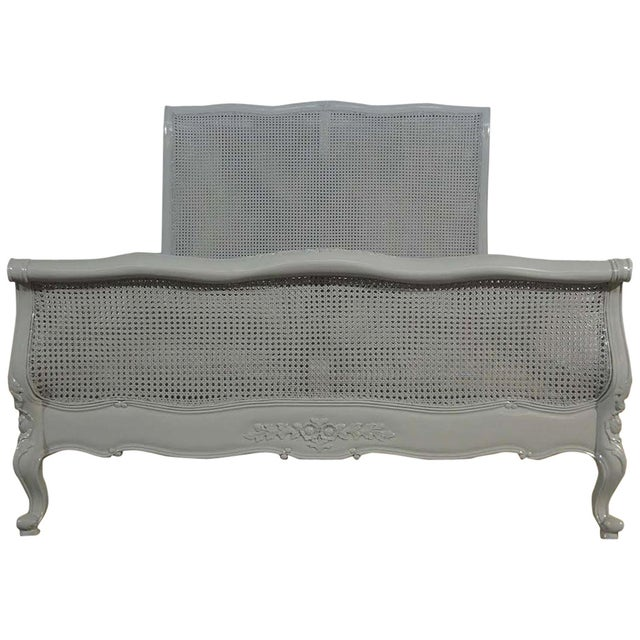 French farmhouse style grey cane queen bed chairish for French farmhouse bed