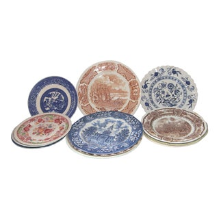 Mismatched Transfer Ware Plates - Set of 12