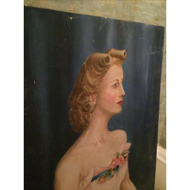 Vintage Beauty Queen Oil Portrait Painting - Image 6 of 7