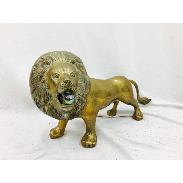 Vintage Brass Lion Sculpture - Image 3 of 10