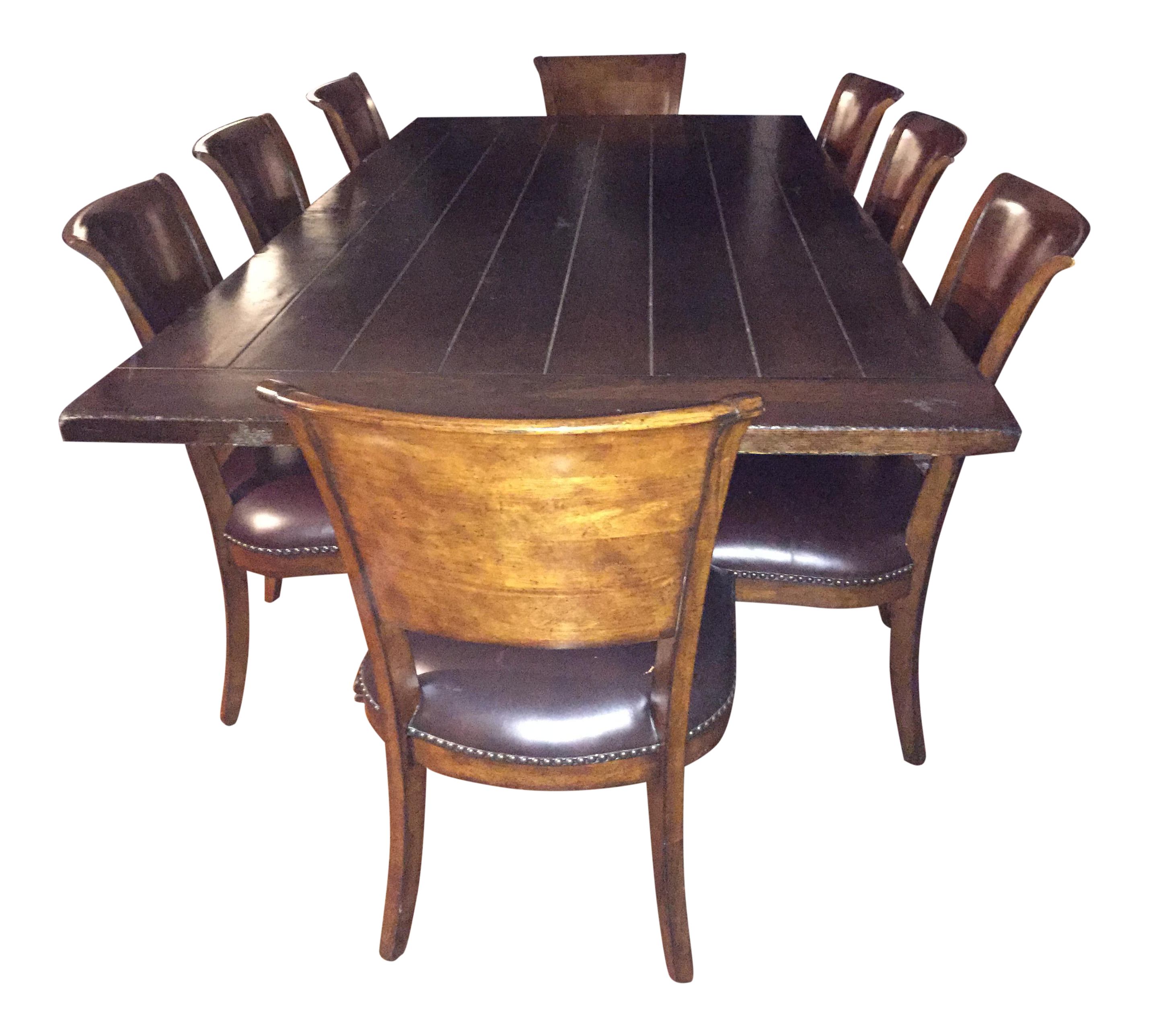 Farmhouse Dining Table U0026 Leather Chairs Part 80