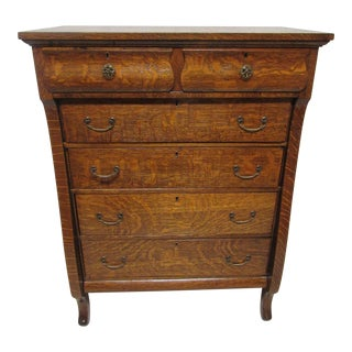 Tiger Oak Highboy Dresser