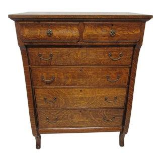 Tiger Oak Highboy Dresser