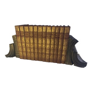 Robert Browning Leatherbound Books & Bookends - Set of 14
