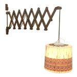 Image of Vintage Teak Swing Arm Scissor Lamp