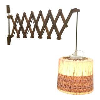 Vintage Teak Swing Arm Scissor Lamp