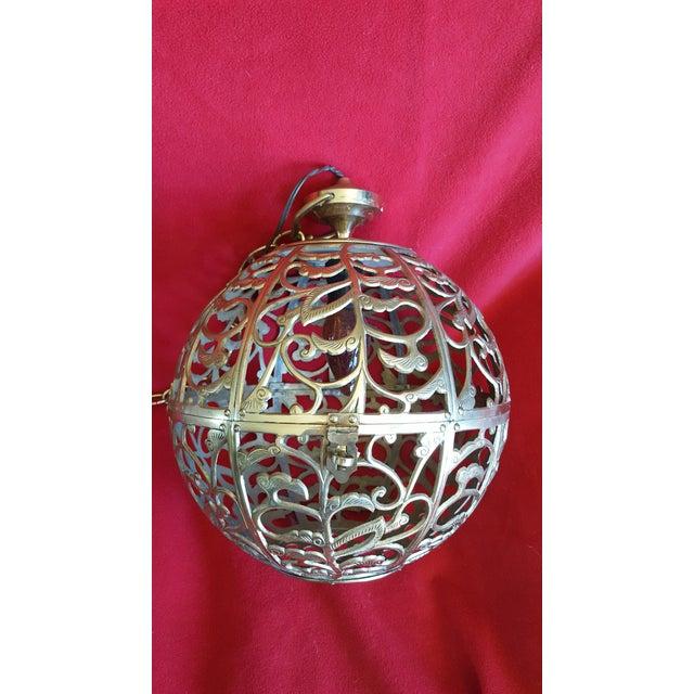 Vintage Asian Brass Pierced Globe Lantern - Image 2 of 7