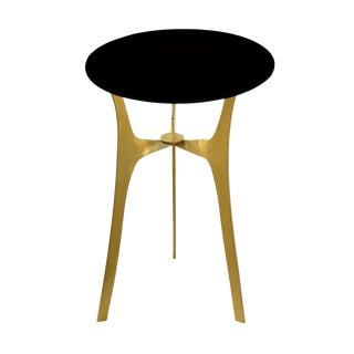 Black Glass & Brass Side Table