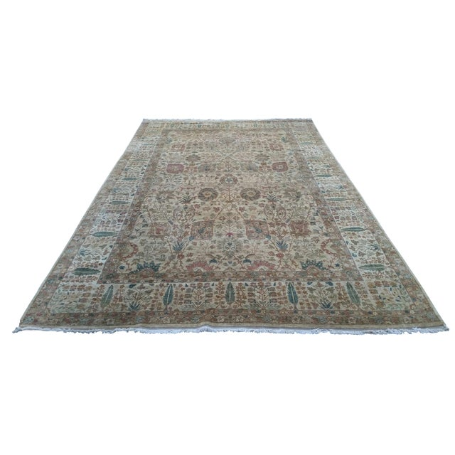 """Handknotted Rust & Teal Wool Area Rug- 10' x 17'8"""" - Image 1 of 8"""